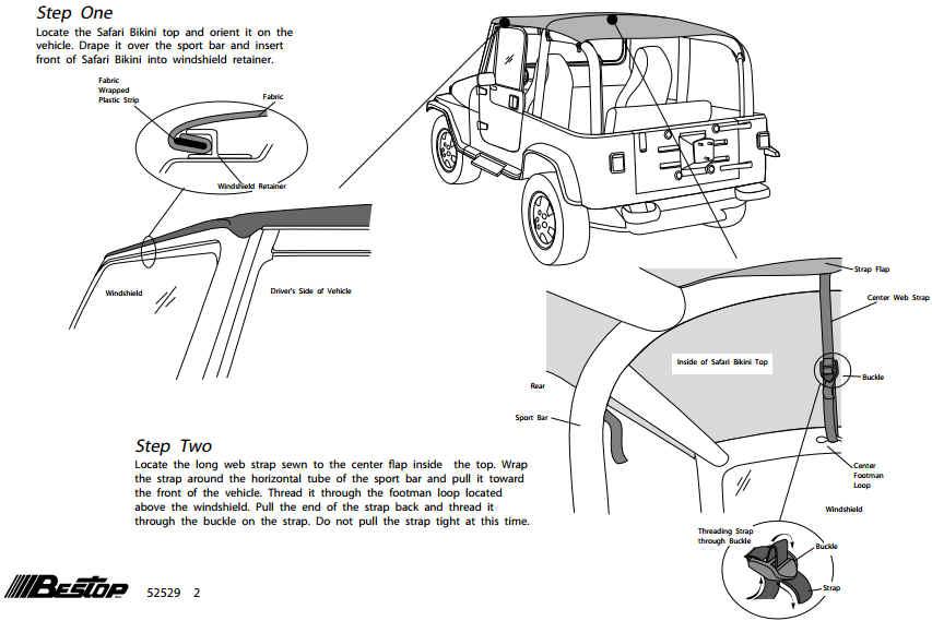 how to install a bestop black diamond safari bikini top on your 1992
