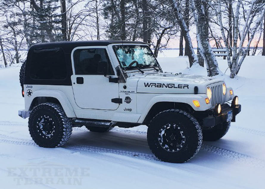 TJ Wrangler with All-Terrain Tires on Snow