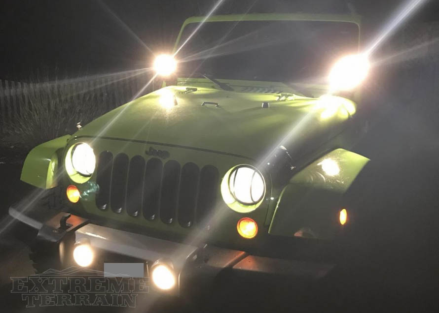 6in Halogen Driving Light on a JK Wrangler