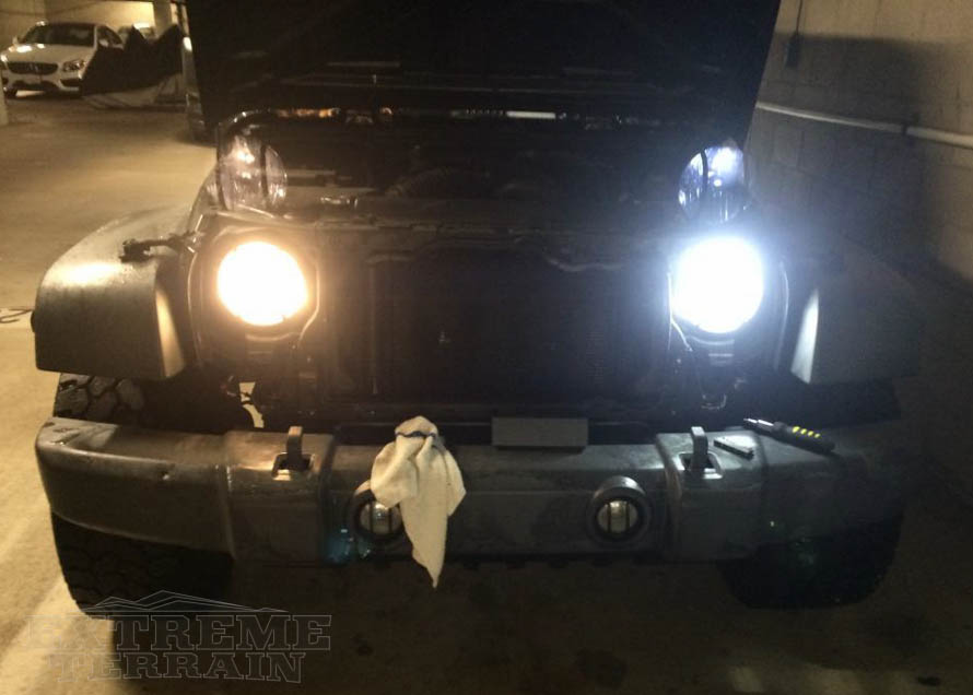 2007-2017 JK Wrangler Showing the LED Headlight Conversion