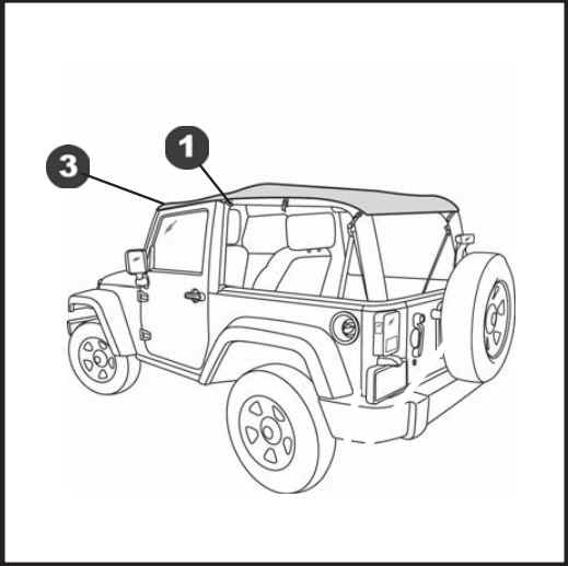 how to install a bestop black diamond cable style safari bikini top Jeep Flash place a header knob plate under a footman loop install a header knob through the plate and footman loop and thread it into the header knob base