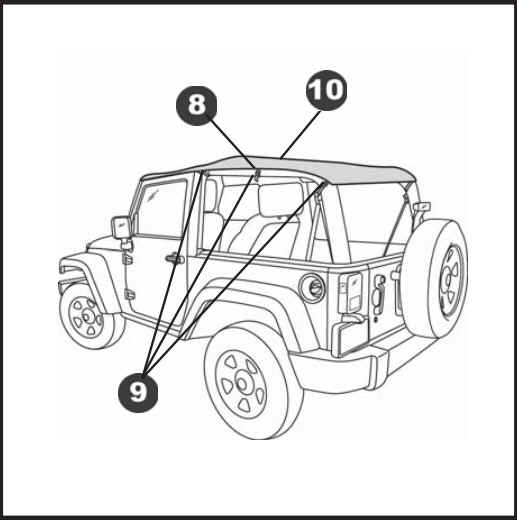 how to install a bestop black diamond cable style safari bikini top Jeep Wrangler Sound Bar pull the straps over the rear of the sound bar and hook each strap into the opening as shown pull the end of each strap to tighten securely