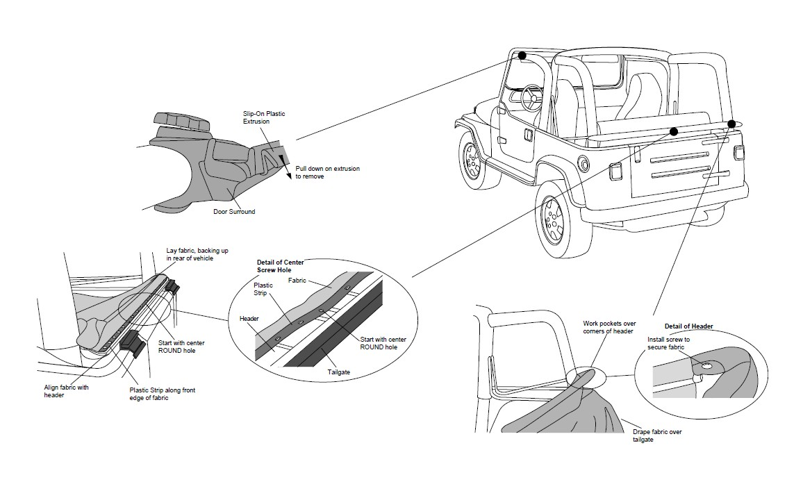 How To Install Bestop Sailcloth Replace A Top W Tinted Windows Jeep Wrangler Tj Front Axle Diagram On U Joint Suspension Raise The Header Slightly And Work Pockets In Fabric Over Corners Of An Oval Head Screw Each Corner Secure