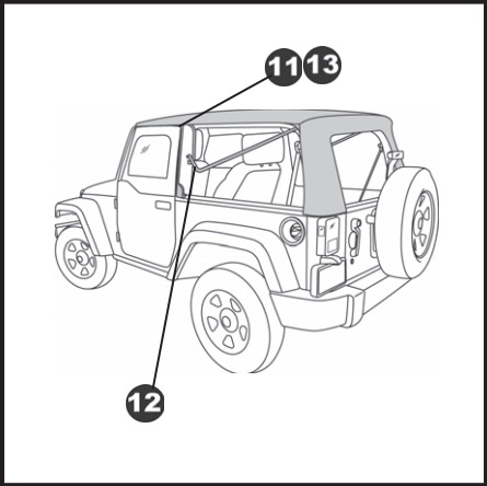 how to install a bestop supertop nx black diamond on your 2007 2017 Wrangler Interior Mod 14 secure top fabric to rear bow