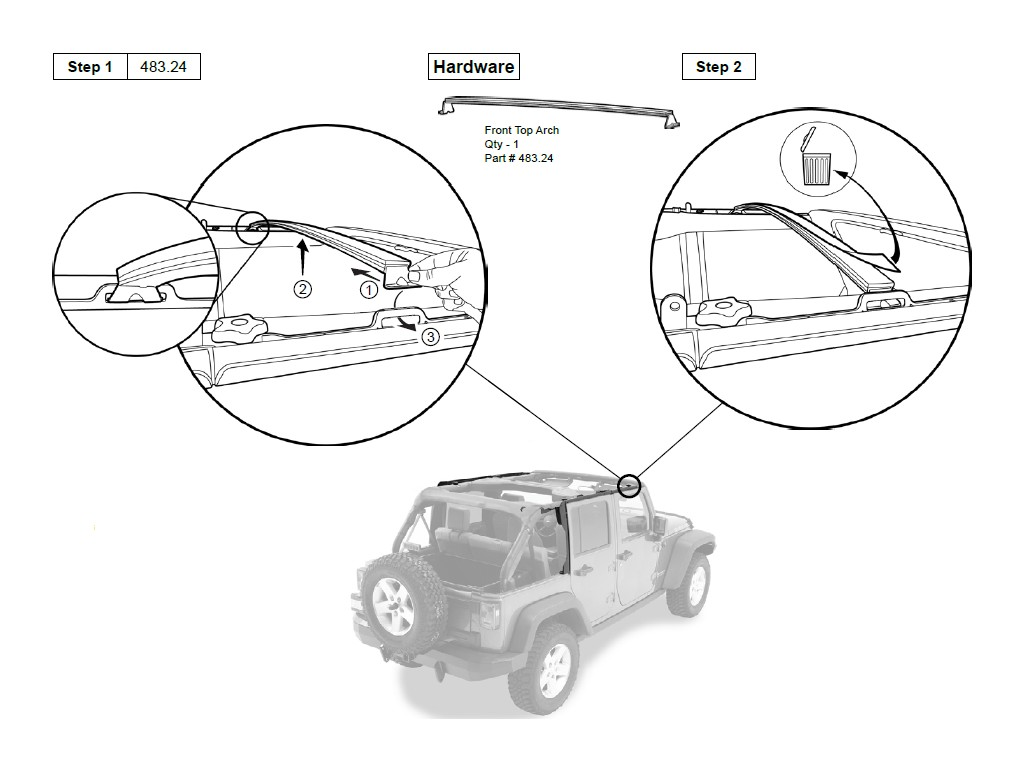 How To Install A Bestop Trektop Nx On Your 2007 2017 Jeep Wrangler Rear Suspension Diagram Further Front End Parts Section 7 Top Arch