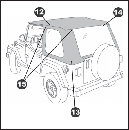 how to install bestop trektop nx black twill on your wrangler Jeep Wrangler Roll step 20 slip the plastic strips along the bottom of the rear window into the channel in the tailgate mounts on each side of the tailgate
