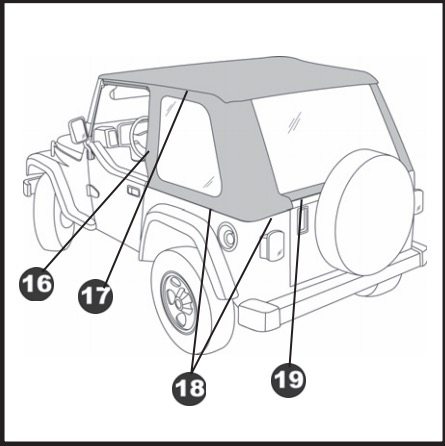 how to install bestop trektop nx black twill on your wrangler Wood Mods step 23 slip the plastic strips above the doors into the channel in the door surround on each side of the vehicle