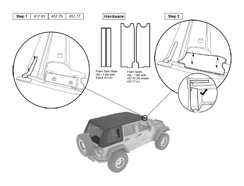 how to install bestop trektop pro 07 17 wrangler jk 4 door on your Jeep TJ Brush Guard section 22 install foam tape strips and foam seals