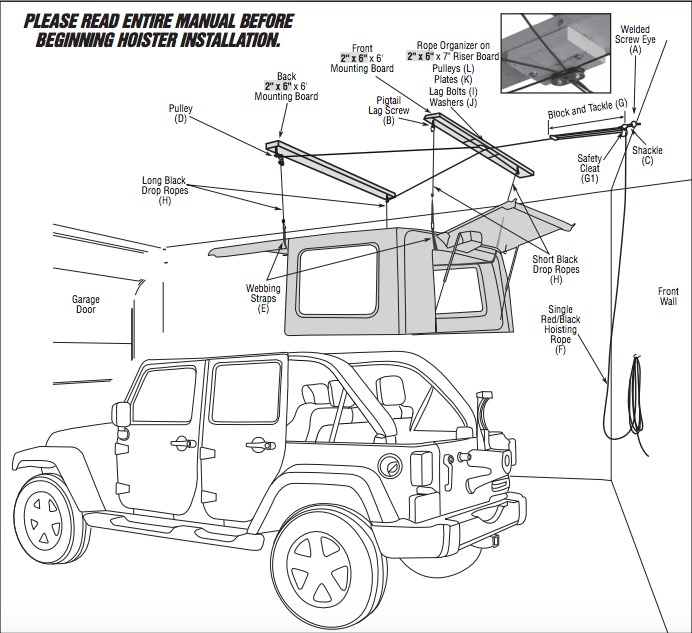 how to install a harken hoister garage storage 4 point lift system rh extremeterrain com