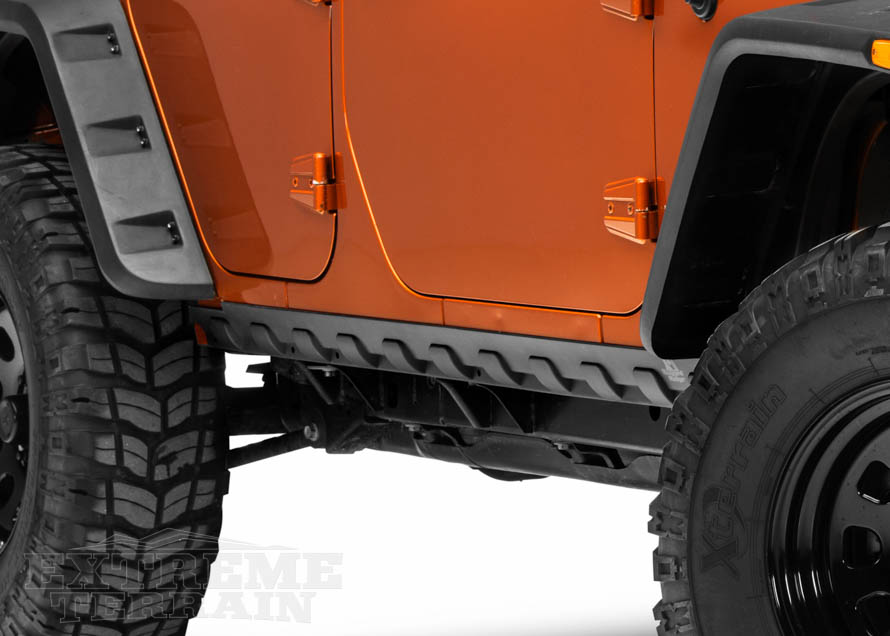 3f6d073cf39 ... rocker guards provide a distinctly noticeable modification to the side  of your Jeep. They can often be powder coated a different color for  additional ...