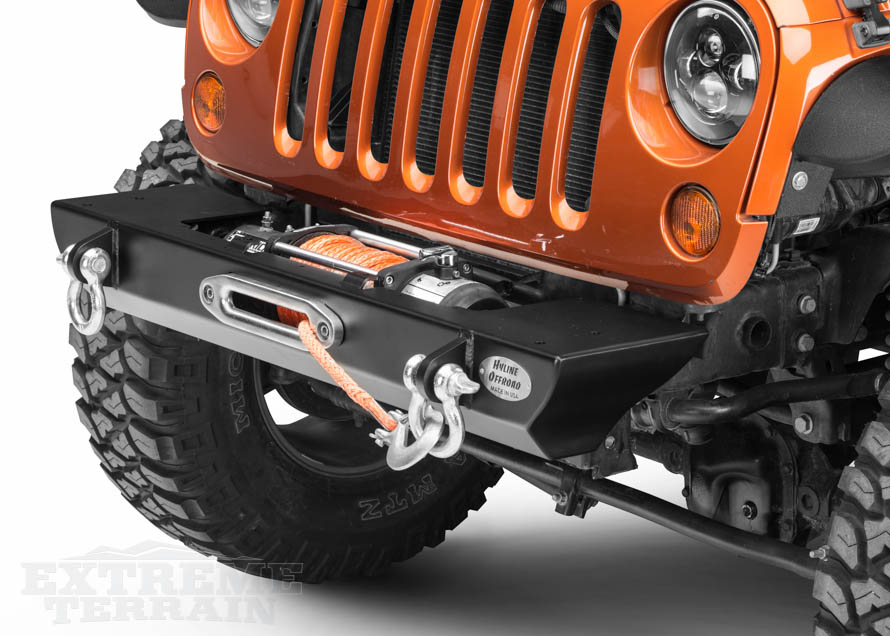 JK Wrangler with a Winch Mounted in a Stubby Bumper