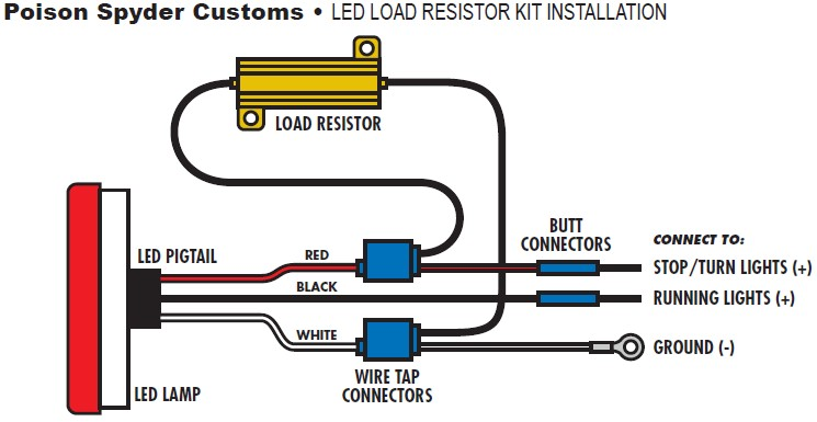 how to install poison spyder led resistor kit for led tail lights on rh extremeterrain com led resistor wiring in model railroads led turn signal resistor wiring diagram