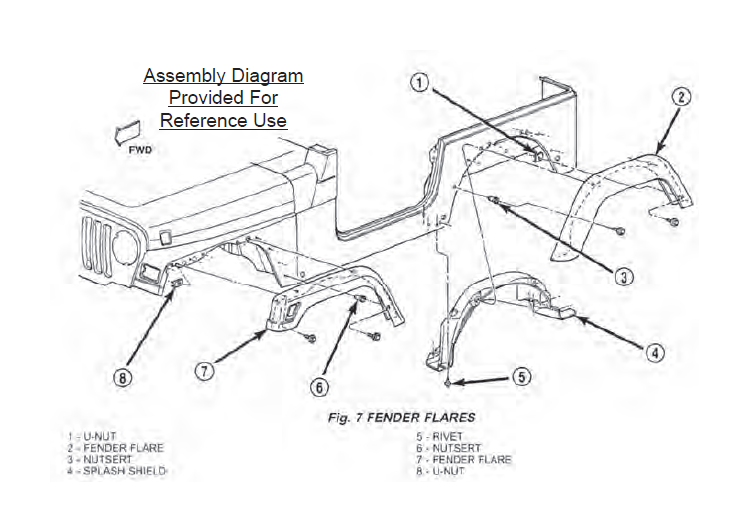how to install redrock 4x4 7 in fender flare kit on your wrangler rh extremeterrain com Jeep Wrangler Jk Fender Flares jeep wrangler front bumper diagram