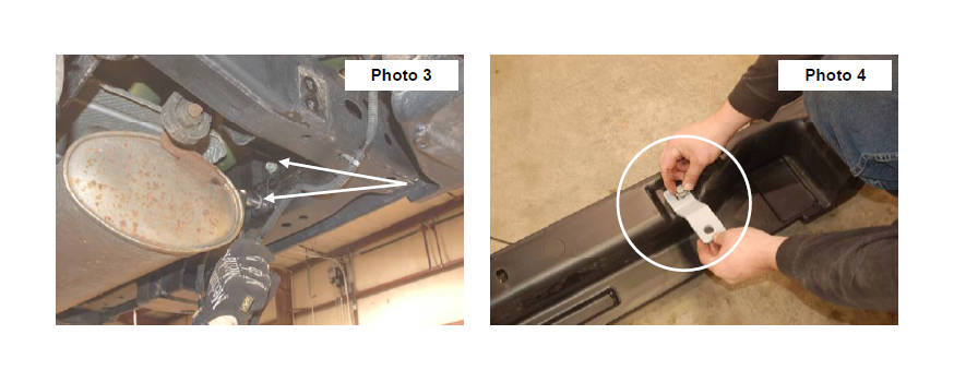 4. Install the inner bumper brackets on the bumper as shown in Photo 4 using stock hardware. Do not tighten at this time.