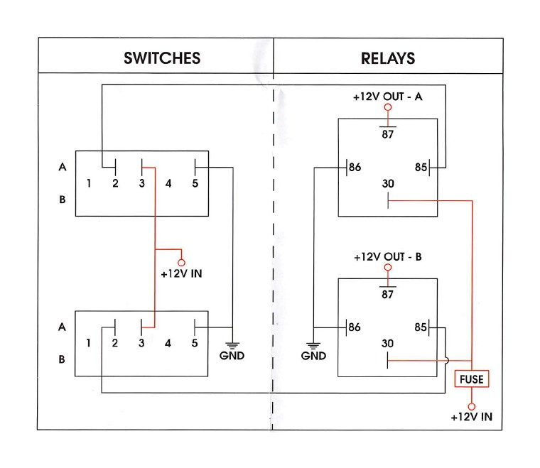 using two 30a relays and one three position switch, wire relays and switches  as shown below  - connect yellow wire ( 12v in) on dual beam led light to  pin
