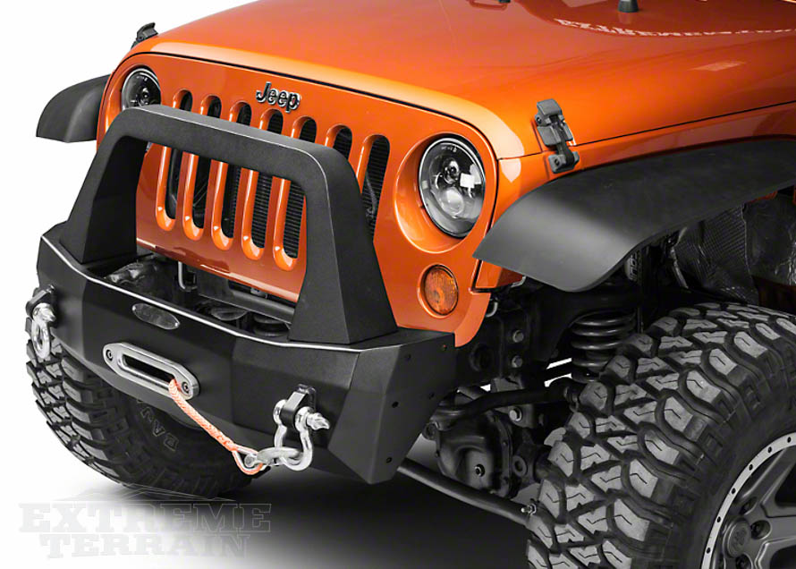 Aluminum Stubby Bumper with Winch Installed on a JK Wrangler