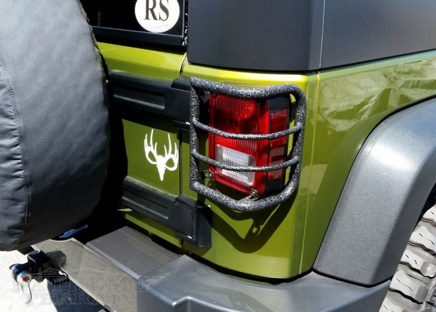 Wrap Around Tail Light Guard - Textured - on a JK Wrangler