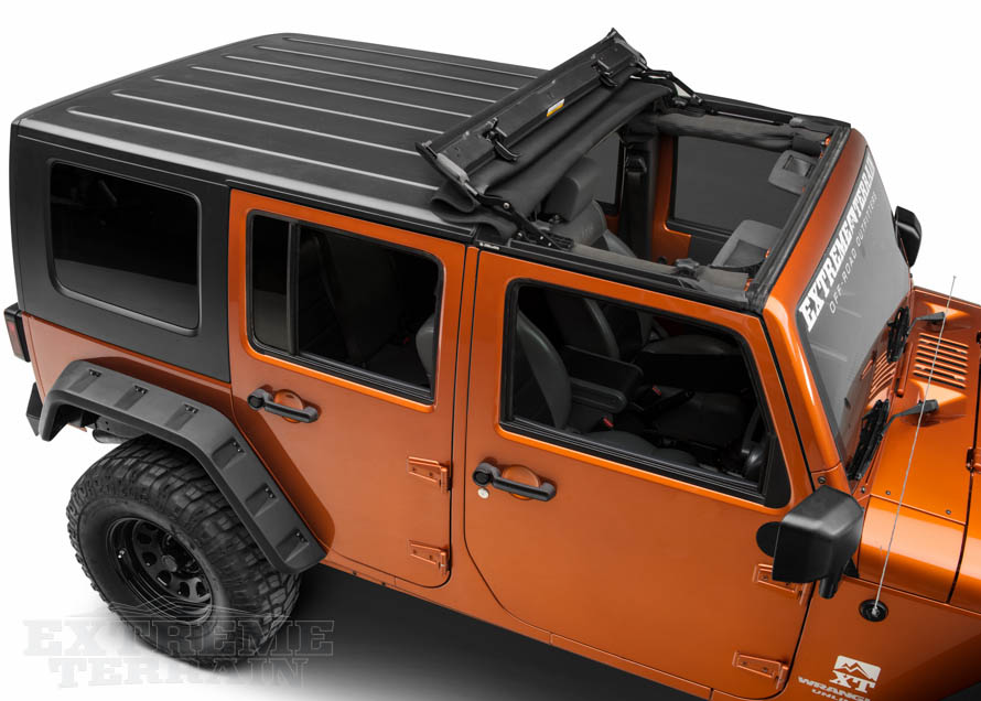 4 Door JK Wrangler with Roll Back Sunrider Top
