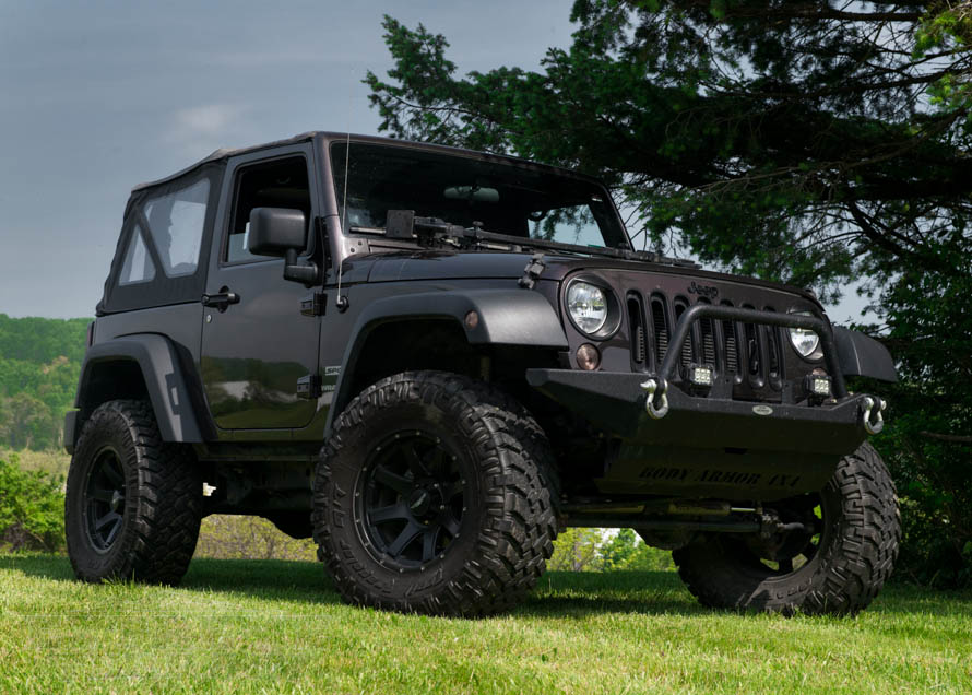 JK Wrangler with Full Width Bumper with Tow Ring and Lights