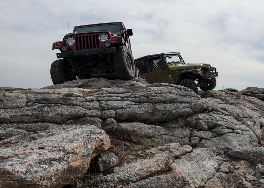 TJ Wranglers Ontop of a Rocky Hill
