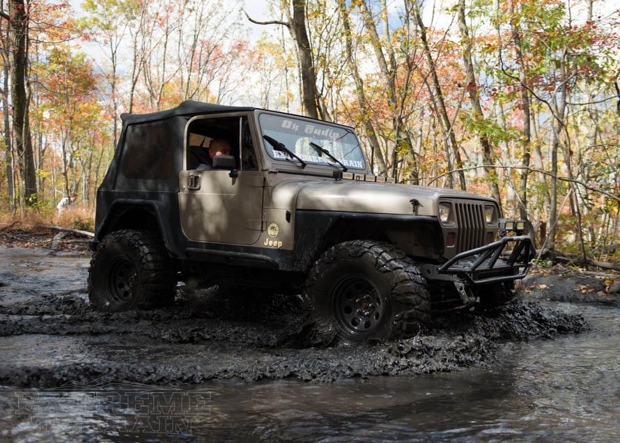 YJ Wrangler Slogging Through Mud and Water