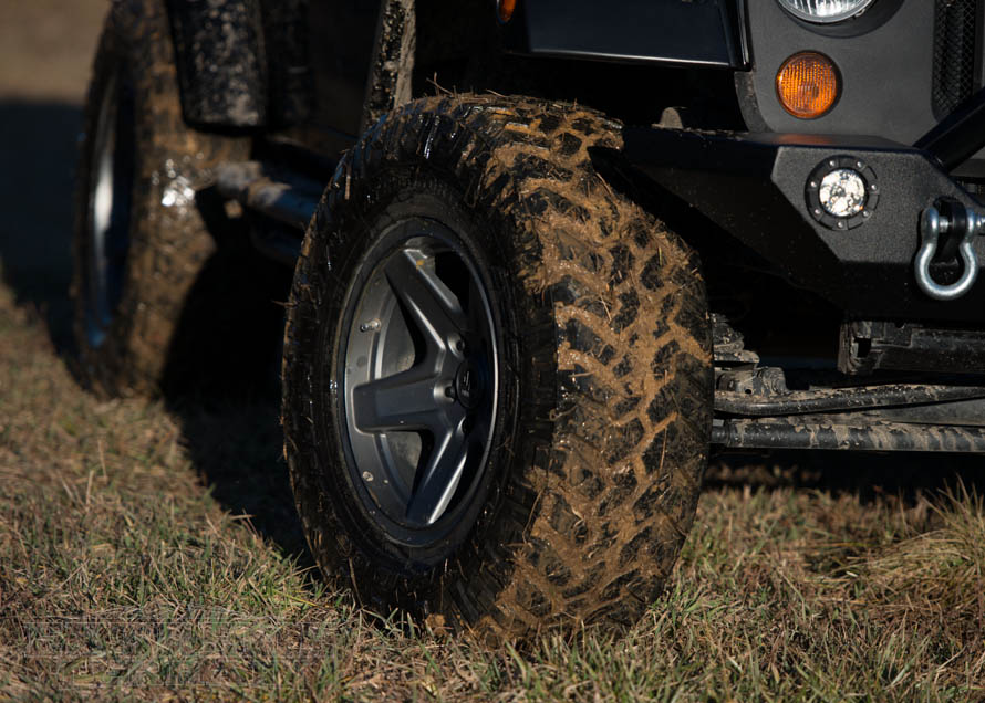 Muddied Up Tires on a Wrangler JK