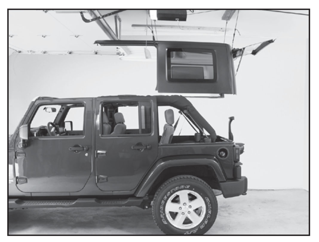 How To Install A Harken Hoister Garage Storage 4 Point Lift System Jeep Tj Hardtop Option 1 Above Door Clearance And Store Top Open