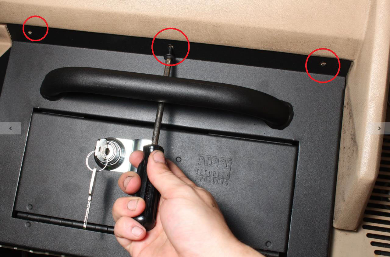 How to install a tuffy security glove compartment on your 1987 1995 install 3 original dashboard screws along the top of the tuffy security glove compartment publicscrutiny Gallery